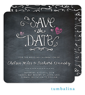Hearts Chalkboard Save The Date Card