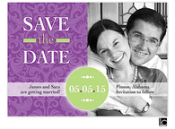 Purple damask Digital Photo Save The Date