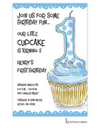 Blue One Cupcake Invitation