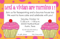 Twin Cupcake Custom Invitation