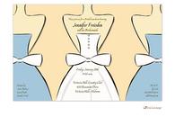Blue Bride and Bridesmaids on Medium Blue Invitation