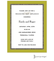 Beaded Border Olive Invitation