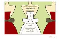 Bride and Bridesmaids on Green Invitation