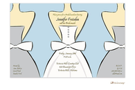 Bride and Bridesmaids on Light Blue Invitation