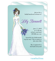 Elegant Dress Blue Invitation
