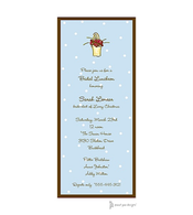 Little Dots Blue & Chocolate Invitation