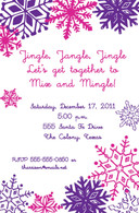 Pink & Purple Snowflakes Custom Invitation