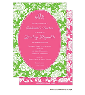White Floral on Green & Hot Pink Invitation