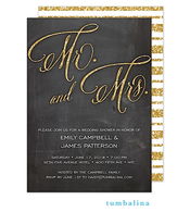 Mr & Mrs Glitter Chalkboard Invitation