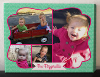 Green and Pink Photo Collage Canvas