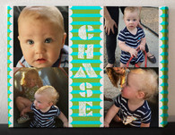 Blue and Green Stripes Photo Collage Canvas