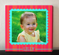 Pink Stripes Photo Collage Canvas