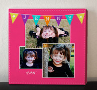 Pink Banner Photo Collage Canvas