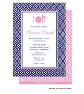 Navy Blue Linking Pattern Invitation
