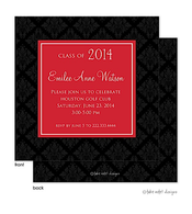 Elegant Damask Solid Red Center Graduation Announcement