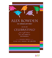 Rainbow Stripes Caps In The Air Graduation Party Invitation