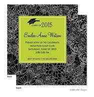 Modern Floral Lime Center Graduation Announcement