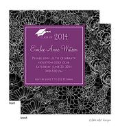 Modern Floral Purple Center Graduation Announcement