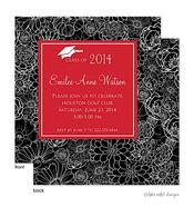 Modern Floral Red Center Graduation Announcement