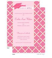 Pink Fancy Grid Graduation Hat Graduation Announcement