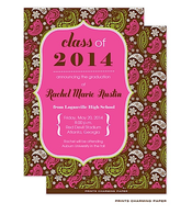 Pink Paisley Print on Brown Invitation