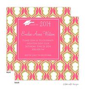 Pink Hourglass Solid Center Graduation Announcement