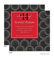 Circles Solid Red Center Graduation Announcement