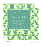 Lime Hourglass Solid Center Graduation Announcement