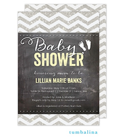 Chevron Chalkboard Glitter Baby Yellow Invitation