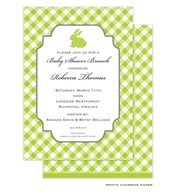 Green Polka Dot Bunny Invitation