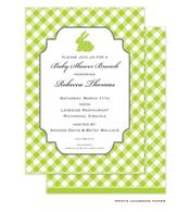 Green Polka Dot Bunny Invitation
