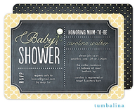 Rattle Baby Chalkboard Yellow Invitation
