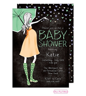 Stylish Shower Chalkboard Green Shower Invitation