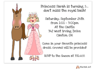 Princess And Horse Horizontal Invitation