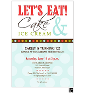 Red Let's Eat Cake & Ice Cream birthday invitation