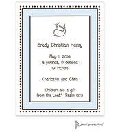 Antique Bead Border Blue & Chocolate Invitation