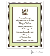 Antique Bead Border Lime & Chocolate Invitation - Castle