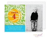 Basketball Green Party Digital Photo Invitation