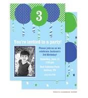 Blue Balloon Birthday Invitation with Digital Photo