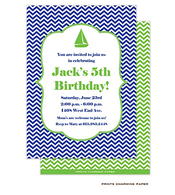 Blue Chevron Invitation - Sailboat