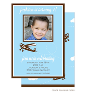Blue Plane Birthday Invitation with Digital Photo