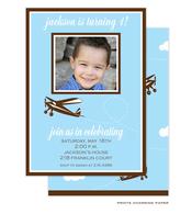 Blue Plane Birthday Invitation with Digital Photo