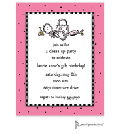 Checks & Dots Bright Pink Invitation - Dress Up