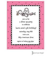 Checks & Dots Bright Pink Invitation - Dress Up