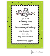 Checks & Dots Lime Invitation - Dress Up