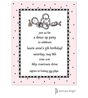 Checks & Dots Pink Invitation - Dress Up