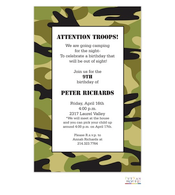 Green Camo Invitation