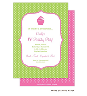 Pink Cupcake on Green Dots Invitation