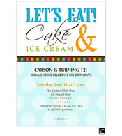 Let's Eat Cake & Ice Cream birthday invitation