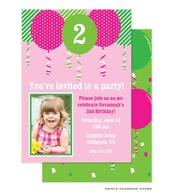 Pink Balloon Birthday Digital Photo Invitation